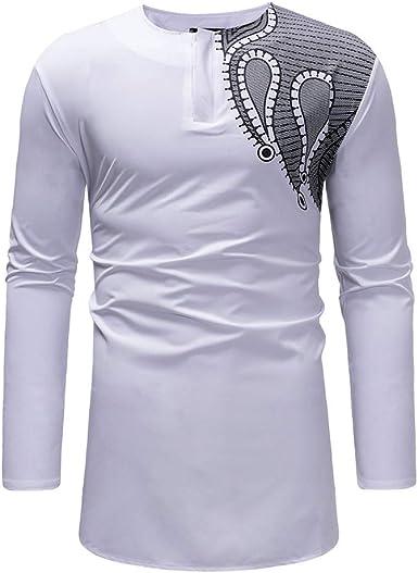 Boutique sale Nueva Camisa de Manga Larga Camisa Africana Dorada para Hombre Camisa para Hombre con Cuello en V Camisa Casual de Manga Larga Abrigo Largo con Fondo: Amazon.es: Ropa y accesorios