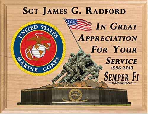 Broad Bay Marine Corps Retirement Gift Plaque Official Personalized USMC Vet Plaque Custom Made in The United - United Personalized Marine States