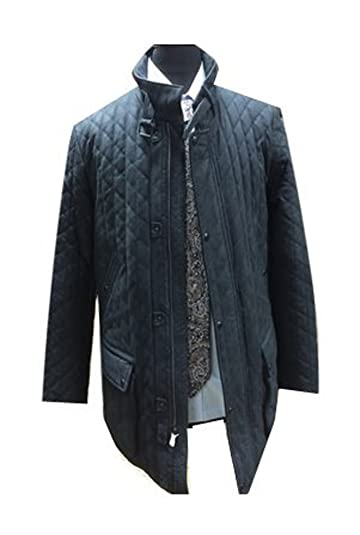 Amazon Com Robert Comstock Navy Blue Quilted Leather Jacket Oiled