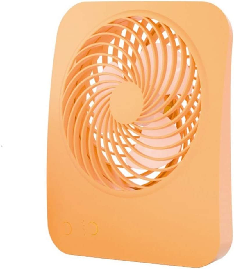 Mini Portable Cooling Fan Mini Fan Desktop Fan Office Dormitory USB Charging Fan No Battery Color : Orange