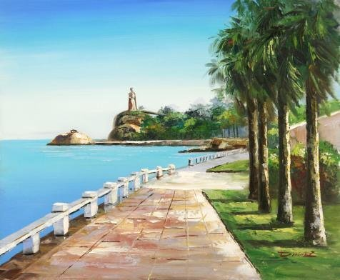 Oil Painting 'Beautiful Scenery Of The Sea Side With A Statue' 20 x 24 inch / 51 x 62 cm , on High Definition HD canvas prints is for Gifts And Bath Room, Bed Room And Kids Room Decoration