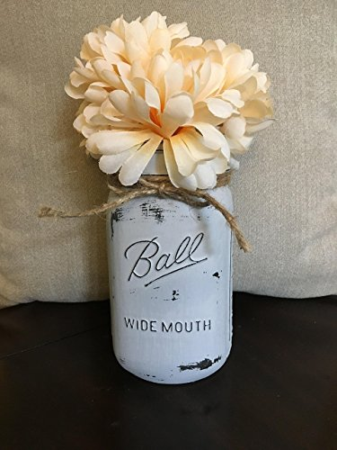 Distressed Pewter Grey Chalk Painted Wide Mouth Mason Jar Centerpiece (Size: Quart)