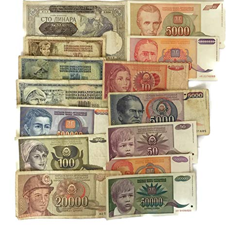 Set Of 16 Yugoslavia Banknotes Serbia Dinara Old Rare Collectible Paper Money ()