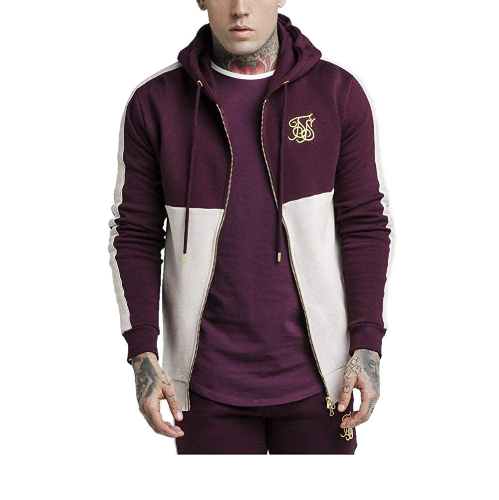 TALLA S. Sik Silk Cut and Sew Taped Zip Through Hoodie Burgundy Cream