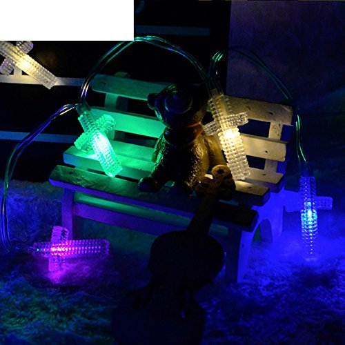 LED colored lights flashing light battery light chain Christmas lights Cross wind chime out the lights-B by JUANJUANNN