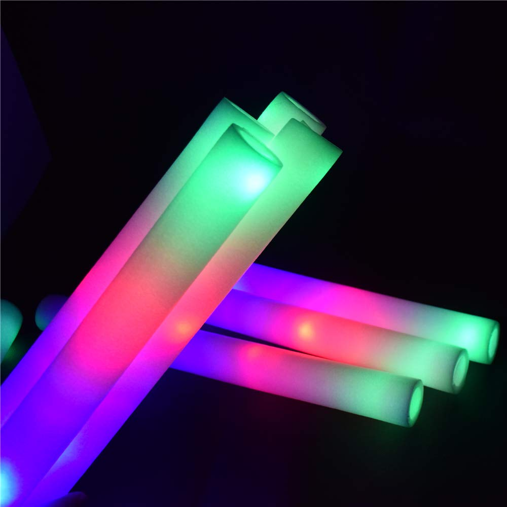 LifBetter 50 PCS/Pack 16'' LED Foam Glow Sticks, 3 Modes Flashing Multicolor Light Up Batons Party Supplies, Festivals, Raves, Birthdays, Children Light Up Toy by LifBetter (Image #5)