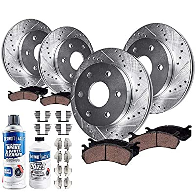 Detroit Axle - 4WD 6-LUG FRONT & REAR DRILLED & SLOTTED Brake Kit Rotors & Ceramic Brake Kit Pads w/Hardware, Brake Kit Fluid & Cleaner fits 2005-2008 Ford F-150 & 2006-08 Lincoln Mark LT 4x4 6-Lug: Automotive