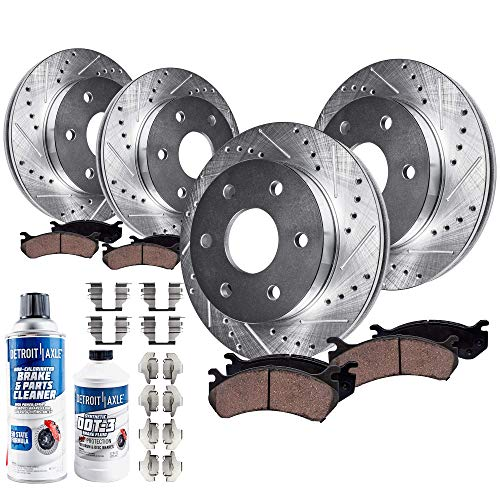 Detroit Axle - All (4) Front and Rear Drilled and Slotted Disc Brake Rotors w/Ceramic Pads w/Hardware & Brake Cleaner & Fluid for 2007-2013 Cadillac Chevy GMC Escalade ESV Avalanche Tahoe Yukon