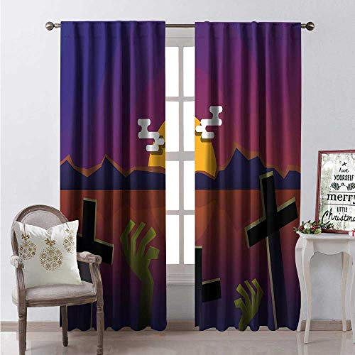 Hengshu Horror Movie Blackout Window Curtain Halloween Themed Nighttime View of a Grave Customized Curtains W120 x L108 Earth Yellow Green Brown Pale Redwood Indigo ()