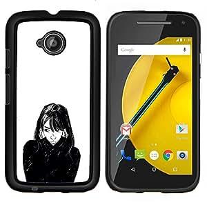 """For Motorola Moto E2 / E 2nd gen Case , Retrato de la muchacha Arte Negro Blanco pelo de la cara"""" - Diseño Patrón Teléfono Caso Cubierta Case Bumper Duro Protección Case Cover Funda"""