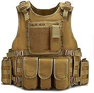 Tactical Vest Adjustable Outdoor Gear Load Carrier Vest for Traning,Hunting, CS Game