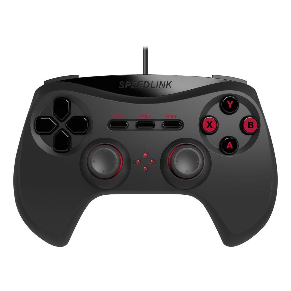 Speedlink Gamepad fü r PC / Computer - Strike NX Gaming Controller (Hochrealistische Vibrationen - Optimale Ergonomie - Hohe Kompatibilitä t durch Dual-Mode-Technologie) 1, 8m Kabellä nge schwarz SL-650000-BK-01