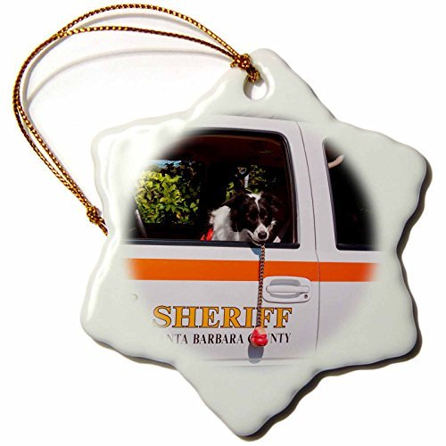 Snowflake Ornament Dogs Border Collie Search and Rescue Dog in Sheriff Vehicle inch Snowflake Porcelain Ornament (Collie Angel Dog Ornament)
