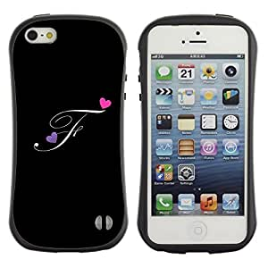 Suave TPU Caso Carcasa de Caucho Funda para Apple Iphone 5 / 5S / Black Initials Letter Calligraphy Text / STRONG