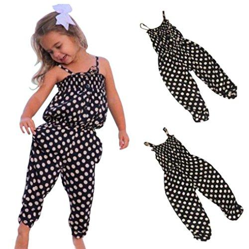 Elevin(TM)2017Baby Kids Girls Summer Strap Romper Jumpsuit Harem Pants Clothes Outfits (5/6T, Black)