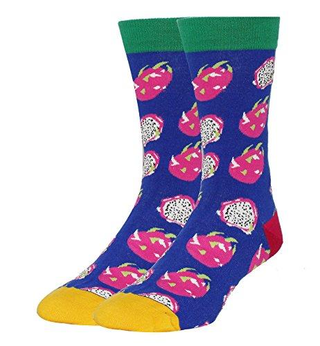 Men Cotton Funny Pitaya Fruit Socks Size 8-14 ()
