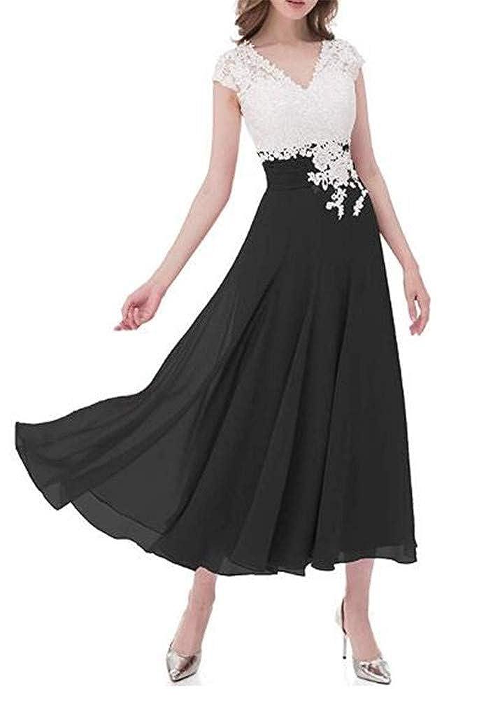 Yuki Isabelle V Neck Lace Top Cap Sleeve Chiffon Wedding Bridesmaid Dress Mother of The Bride Dresses