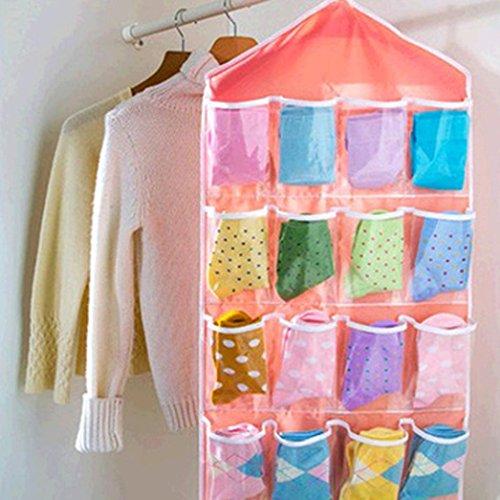 Clearance Deal! Hot Sale! Storage Bag, Fitfulvan Pockets Clear Hanging Bag Socks Bra Underwear Rack Hanger Storage Organizer (Pink) by Fitfulvan (Image #1)