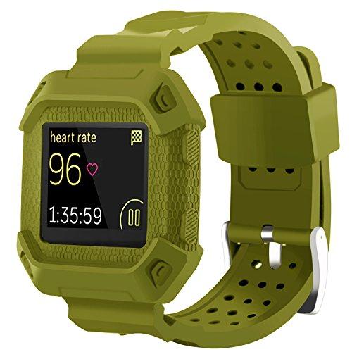 Moretek Blaze band , Tough Hard Shock-Resistant Hybrid Cover Dual Layer Armor Defender Case wrist strap for Fitbit blaze Smartwatch Replacement bands (Army - 360 Blaze It