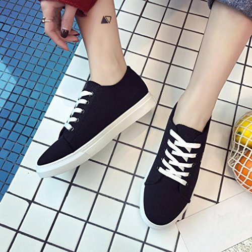 Gatto Moda Di Scarpe Sneakers Leggero Nero Casual Croce Skate Da Traspirante Donne Tela Morbido Legato Massaggio Le Somesun wq14ff