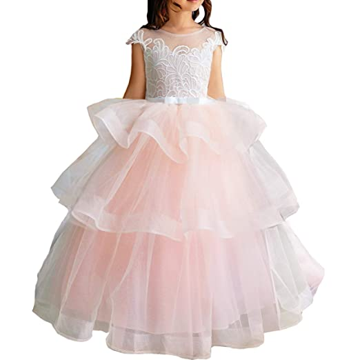 a828ebee1a155 Pink Flower Girl Dresses V-Neck Long Tulle Puffy Ball Gown Party Sleeveless  Bridesmaid Lace Appliques Prom Pageant