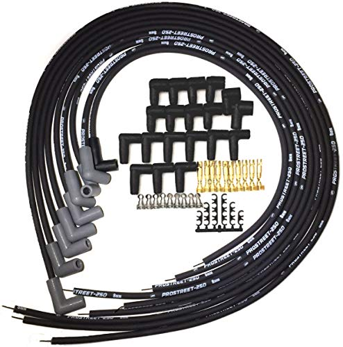 UPP - PROSTREET 250 - Black 8mm Silicone High Performance Racing Universal Spark Plug Wire Set - 250 ohm Wire Wound Core - 90 Degree Boots/Terminals Fits Chevy SBC BBC 283 350 383 400 427 454 ()