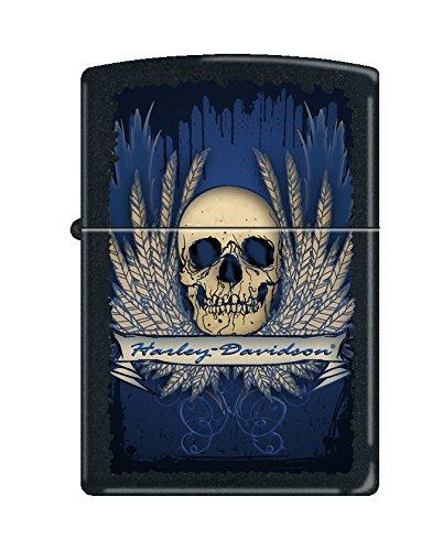 - Zippo Harley-Davidson Skull Pocket Lighter, Black Matte