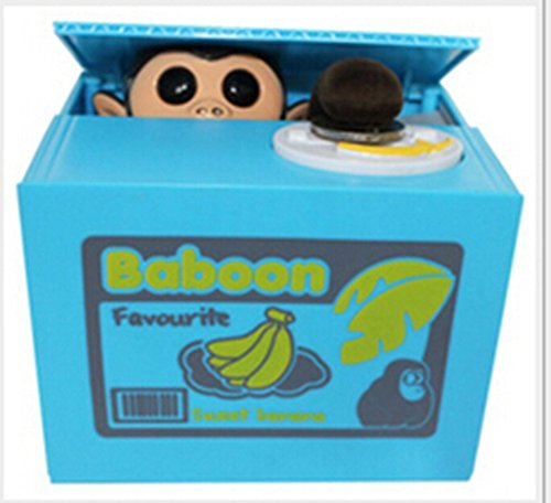 Easyflower Novel and Unique Little Monkey Money Box Automatic Stealing Coin Box Gift for Kids and Adult (Blue) by Easyflower