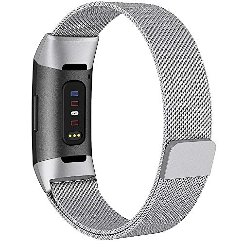 QIBOX Compatible Fitbit Charge 3 Bands, Woven Milanese Loop Stainless Steel Metal Replacement Strap Bracelet Magnetic Closure Clasp Compatible Fitbit Charge 3 SE Fitness Tracker (Silver, Small)