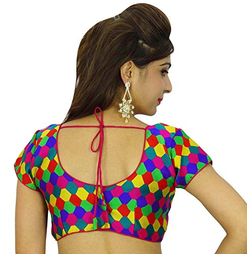 Diseñador de Choli Weaving Ready-Made Blusa Weaving cultivo-Top Multicolor-4