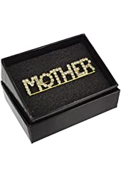 Mother's Day Mother Rhinestone Crystal Word Brooch Pin