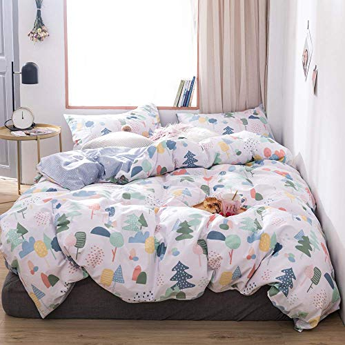 VClife Christmas Theme Bedding Sets, Cotton Queen White Blue Pine Trees Pattern Reversible Arrow Geometric Design Bedding Collection for Kid Teen Adults (1 Duvet Cover 2 Pillow Cases) (Blue White Christmas Theme And)