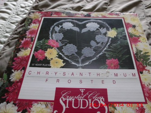 Crystal Clear Studio Chrysanthemum Frosted Heart Shape Platter