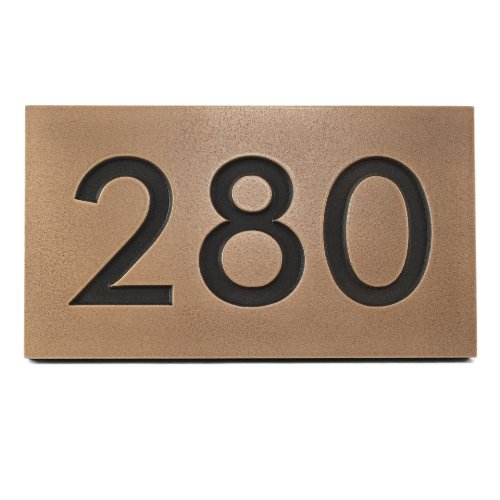 Modern House Address Plaque 12.5x7 Sign Metal Coated in Bronze by Atlas Signs and Plaques