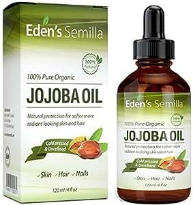 Aceite de Jojoba 100% puro - 120ml - orgánico certificado - El mejor aceite nutritivo natural para una piel radiante, cabello suave como la seda y uñas fuertes - Ideal para pieles sensibles - Protección total de día y de noche - Prensado en frío y sin refinar.