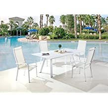 Milan Melbourne Matte White Outdoor Aluminum Dining Set with High Back Chairs
