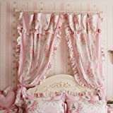 Korean Style Rustic Vintage Pink Rose Curtain Bedroom Floral Windowtreatment(Two Panels) For Sale