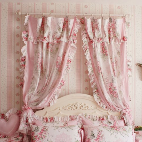 Korean Style Rustic Vintage Pink Rose Curtain Bedroom Floral Windowtreatment(Two Panels)