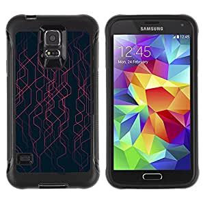 WAWU Rugged Armor Slim Protection Case Cover Shell -- chaotic black stripes energy tech -- Samsung Galaxy S5 SM-G900