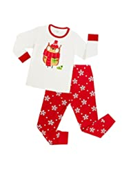 YOUJIA Girls Christmas Pajama Set Deer Snowflake Sleepwear Long Sleeve 2 Pcs Pjs