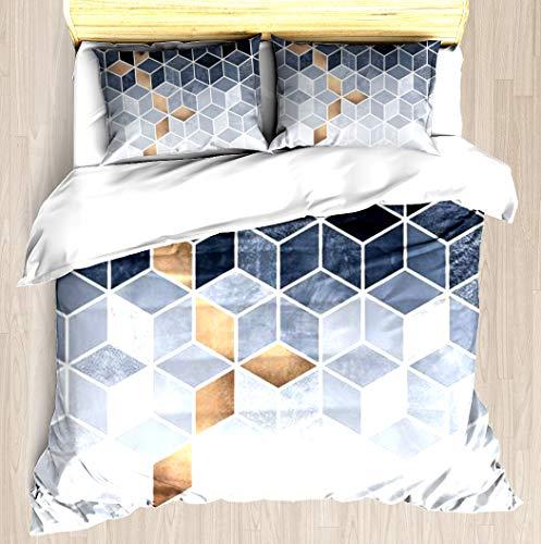 Cube Comforter Set (NTCBED Soft Blue Gradient Cubes Duvet Cover Set Unique Printed Floral Pattern Design Duvet Covers Blanket Cover Soft Comforter Cover Queen/Full Size)