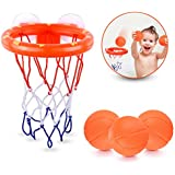 briteNway Fun Basketball Hoop & Balls Playset Little Boys & Girls | Bathtub Shooting Game Kids & Toddlers | Suctions Cups That Stick to Any Flat Surface + 3 Balls Included