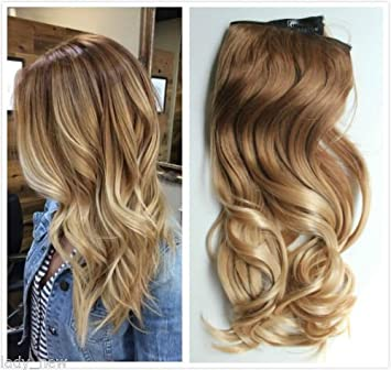Amazon Com One Piece Clip In Hair Extensions Ombre Dip Dye Wavy