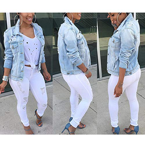 Long Coat Women VERYCO Ladies Top Jacket Distressed Denim Outerwear Sleeve Blue Jean Xdw8a