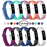 Fundro Fitbit Alta Bands, 10-Pack Soft Silicone Replacement Classic Bands Available in Varied Colors with Secure Buckle for Fitbit Alta HR, Fitbit Alta and Fitbit Ace (A# 10-Pack, Small (6.2''-7.1''))