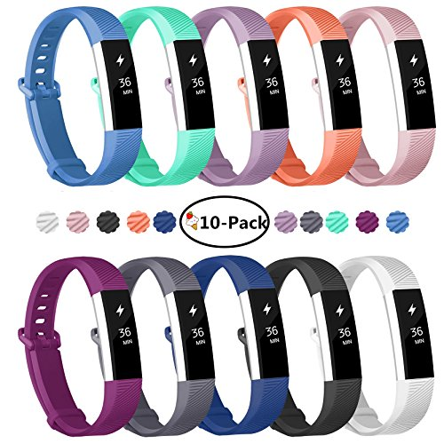 Fundro Fitbit Alta Bands, 10-Pack Soft Silicone Replacement Classic Bands Available in Varied Colors with Secure Buckle for Fitbit Alta HR, Fitbit Alta and Fitbit Ace (A# 10-Pack, Small (6.2