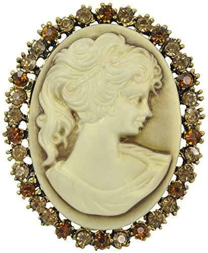 Gyn&Joy Antique Vintage Victorian Lady Cameo Brooch Pin Maiden Topaz Crystal Rhinestone