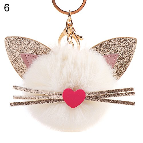 Shineweb Cute Fluffy Cat Pom Pom Ball Key Chain Key Ring Keyring Keyfob Handbag Pendant Keychain Charm -