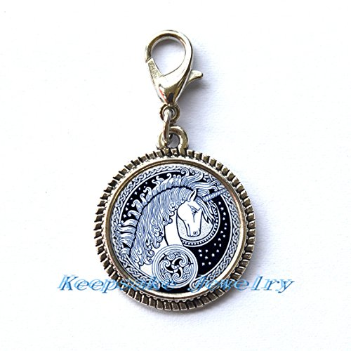 Necklace Key Chain Zipper Pull - Celtic Unicorn Zipper Pull,Zipper Pull, Perfect for Necklaces, Bracelets , keychain and earrings,Charm planner charm handmade charm