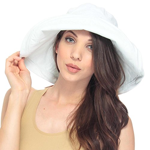 (Lullaby Womens Summer Sun Protective Solid Color Packable Sun Bucket Hat White)